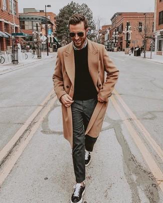 How to wear: charcoal dress pants, light blue denim shirt, black crew-neck sweater, camel overcoat