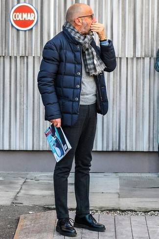 How to Wear a Blue Denim Shirt For Men: Pairing a blue denim shirt with charcoal wool dress pants is an on-point idea for a smart and sophisticated ensemble. A pair of black leather derby shoes effortlesslly ramps up the wow factor of any ensemble.