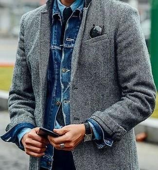 How to wear: black chinos, light blue denim shirt, blue denim jacket, grey herringbone overcoat