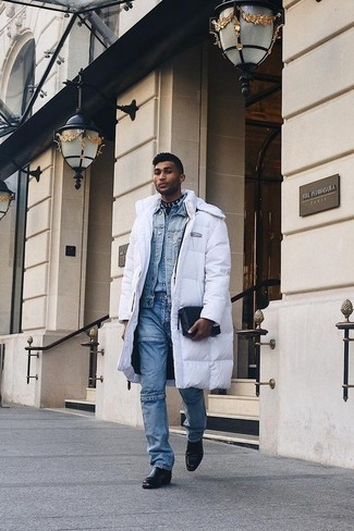 How to Wear a White and Black Puffer Coat For Men: One of the coolest ways for a man to style out a white and black puffer coat is to marry it with blue jeans in a laid-back combination. Introduce black leather chelsea boots to the equation to instantly change up the look.