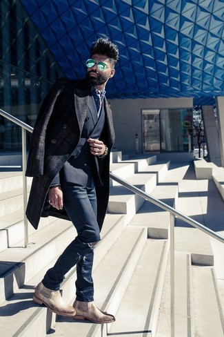 How to wear: navy ripped skinny jeans, blue denim shirt, black double breasted blazer, dark brown plaid overcoat
