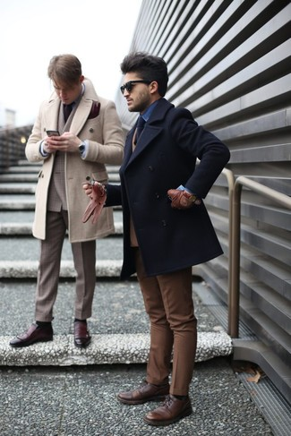 How to wear: brown dress pants, blue denim shirt, tan wool double breasted blazer, black pea coat
