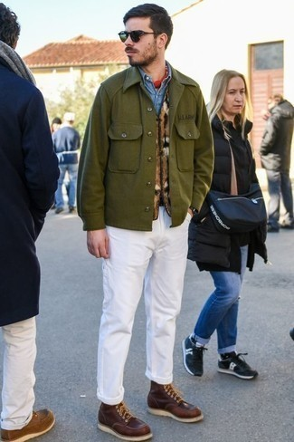 How to Wear an Olive Shirt Jacket For Men: Go for a pared down yet refined choice in an olive shirt jacket and white chinos. If you're puzzled as to how to round off, a pair of burgundy leather casual boots is a great choice.
