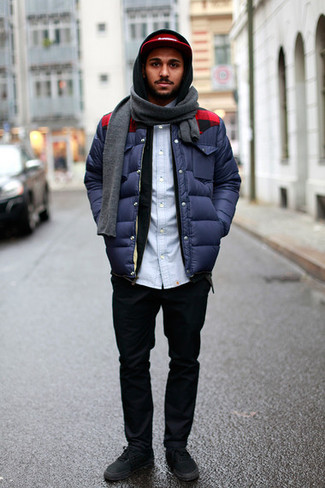 How to wear: black chinos, light blue denim shirt, black hoodie, navy puffer jacket