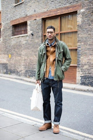How to wear: navy jeans, blue denim shirt, olive military jacket, tan suede shirt jacket
