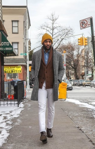 How to wear: white jeans, blue denim shirt, brown shawl cardigan, grey herringbone overcoat