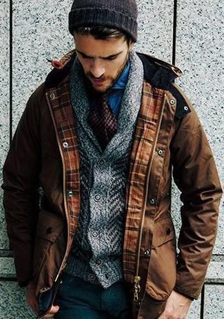 How to wear: black wool dress pants, blue denim shirt, grey knit shawl cardigan, brown parka