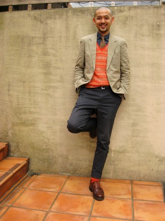 How to wear: charcoal chinos, navy denim shirt, orange fair isle sweater vest, beige blazer