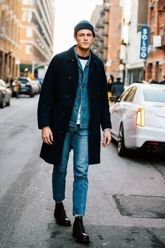 How to Wear a Navy Beanie For Men: Wear a navy raincoat with a navy beanie to assemble an interesting and laid-back ensemble. Bring a sleeker twist to an otherwise everyday look by finishing off with black leather casual boots.