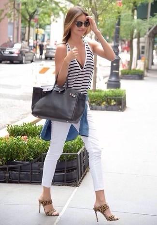 Miranda Kerr wearing Blue Denim Shirt, White and Navy Horizontal Striped Tank, White Skinny Jeans, Tan Leopard Suede Mules