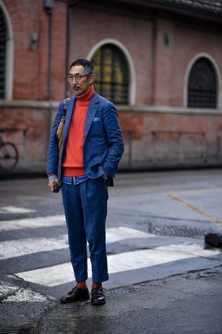 How to wear: navy wool dress pants, blue denim shirt, red turtleneck, navy wool blazer