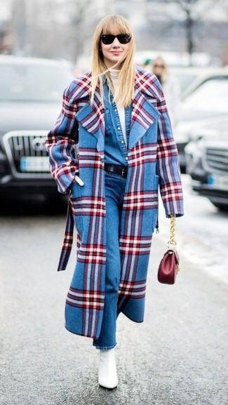 How to wear: blue jeans, blue denim shirt, white turtleneck, blue plaid coat