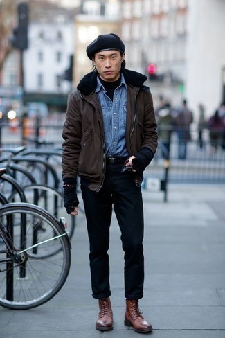 How to Wear a Light Blue Denim Shirt For Men: Go for a pared down yet neat and relaxed choice by combining a light blue denim shirt and black chinos. A pair of brown leather casual boots adds a classic aesthetic to the ensemble.