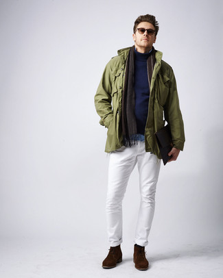 How to wear: white chinos, light blue denim shirt, navy turtleneck, olive military jacket