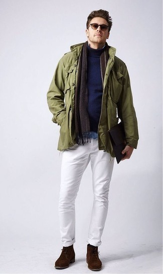 How to Wear a Light Blue Denim Shirt For Men: Wear a light blue denim shirt with white jeans for a stylish, casual getup. A pair of dark brown suede desert boots easily ramps up the classy factor of this outfit.