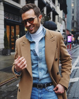 How to wear: blue jeans, light blue denim shirt, white turtleneck, camel overcoat