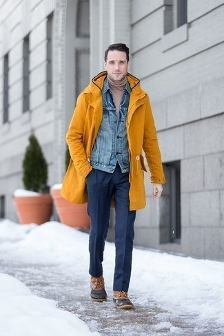 How to Wear a Light Blue Denim Shirt For Men: Pairing a light blue denim shirt and navy dress pants is a fail-safe way to infuse a refined touch into your wardrobe. If you wish to immediately tone down this look with footwear, add brown snow boots to the mix.