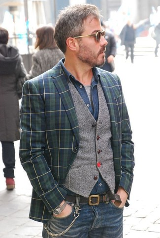 How to wear: grey crew-neck t-shirt, navy denim shirt, grey wool waistcoat, navy and green plaid blazer