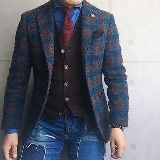 How to wear: blue ripped skinny jeans, blue denim shirt, dark brown waistcoat, dark brown check wool blazer