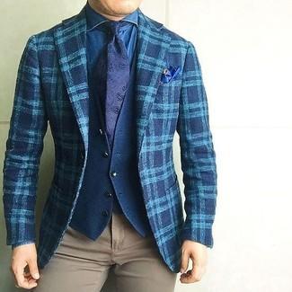 How to wear: khaki chinos, blue denim shirt, navy cotton waistcoat, teal plaid wool blazer