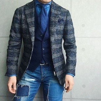 How to wear: blue ripped skinny jeans, blue denim shirt, navy cotton waistcoat, navy plaid wool blazer