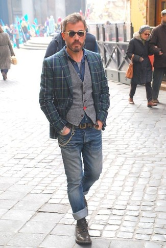 How to wear: grey crew-neck t-shirt, blue denim shirt, grey wool waistcoat, navy and green plaid blazer