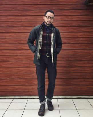 How to wear: black jeans, navy denim shirt, burgundy check zip sweater, black field jacket