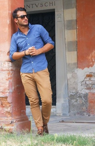 How to wear: dark brown sunglasses, brown leather derby shoes, khaki chinos, blue gingham dress shirt