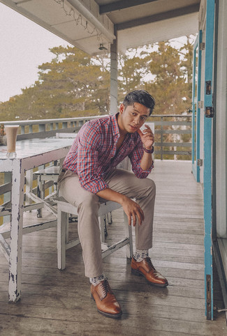 How to wear: dark brown leather belt, brown leather derby shoes, beige chinos, white and red and navy plaid long sleeve shirt