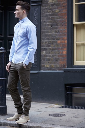 How to wear: silver watch, beige canvas derby shoes, olive chinos, light blue long sleeve shirt