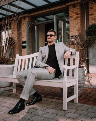 How to wear: black sunglasses, black leather derby shoes, black crew-neck t-shirt, grey plaid suit
