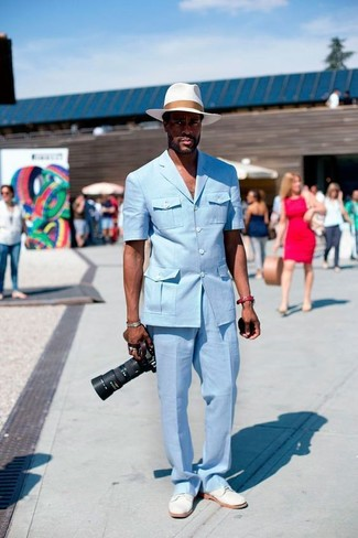 How to wear: white straw hat, white suede derby shoes, light blue dress pants, light blue blazer