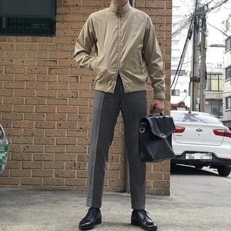 How to wear: black leather briefcase, black leather derby shoes, grey dress pants, beige harrington jacket
