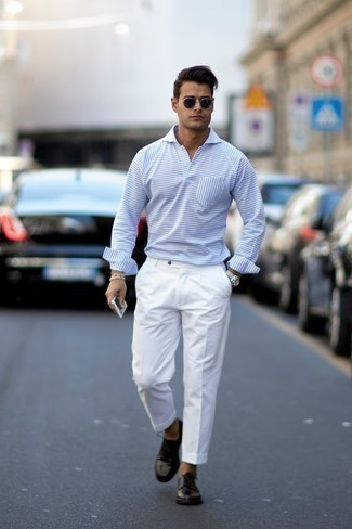 How to Wear White Dress Pants For Men: When it comes to high-octane refinement, this pairing of a light blue horizontal striped polo neck sweater and white dress pants doesn't disappoint. When it comes to shoes, this look pairs nicely with black leather derby shoes.