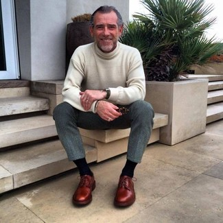 How to wear: black watch, burgundy leather derby shoes, grey wool dress pants, beige turtleneck