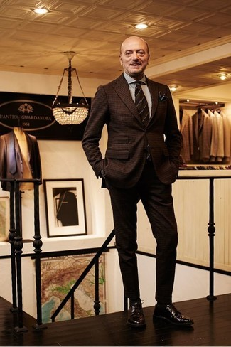 How to wear: dark brown horizontal striped tie, dark brown leather derby shoes, white vertical striped dress shirt, dark brown check wool suit