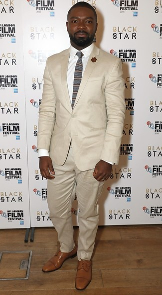 How to wear: brown horizontal striped tie, tan leather derby shoes, white dress shirt, beige suit
