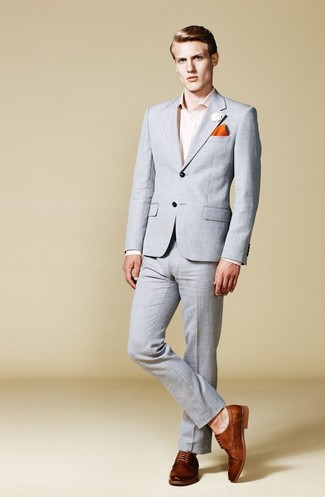 How to wear: orange pocket square, brown leather derby shoes, pink dress shirt, grey suit
