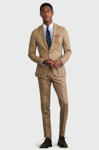 How to wear: navy and green vertical striped tie, dark brown leather derby shoes, light blue dress shirt, tan suit