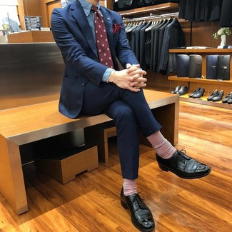 How to wear: burgundy print tie, black leather derby shoes, blue chambray dress shirt, navy suit