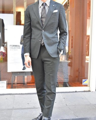 How to wear: grey tie, black leather derby shoes, white vertical striped dress shirt, grey suit