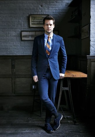 How to wear: navy horizontal striped tie, navy leather derby shoes, light blue dress shirt, navy suit