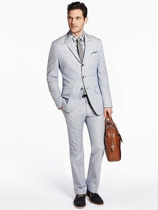 How to wear: brown leather briefcase, black suede derby shoes, grey check dress shirt, grey seersucker suit