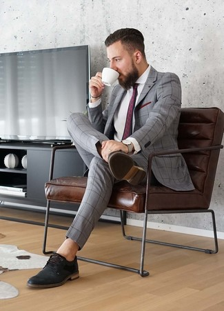How to wear: burgundy print tie, black leather derby shoes, white dress shirt, grey check suit