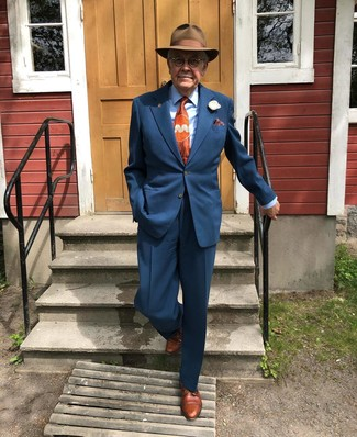 How to wear: brown wool hat, brown leather derby shoes, light blue dress shirt, navy suit