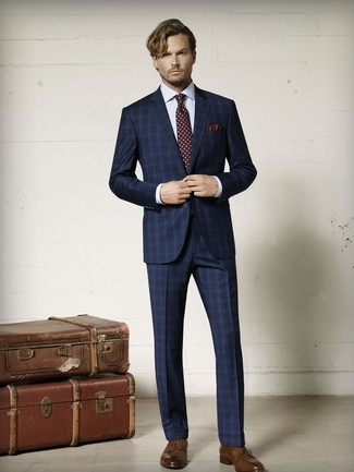 How to wear: burgundy print tie, brown leather derby shoes, white check dress shirt, navy plaid suit
