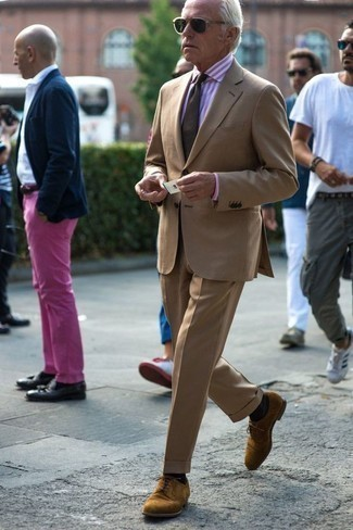 How to Wear a Pink Vertical Striped Dress Shirt For Men: This pairing of a pink vertical striped dress shirt and a tan suit is great for elegant situations. Tan suede derby shoes integrate effortlessly within a variety of getups.