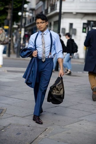 Men's Looks & Outfits: What To Wear In a Dressy Way: Choose a navy suit and a light blue dress shirt to have all eyes on you. To inject a dash of stylish nonchalance into this outfit, complement your look with burgundy leather derby shoes.