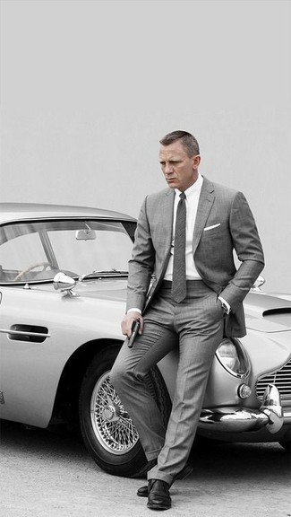 How to wear: charcoal wool tie, black leather derby shoes, white dress shirt, grey suit