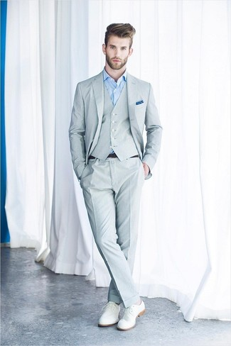 How to wear: blue pocket square, white leather derby shoes, light blue dress shirt, grey three piece suit